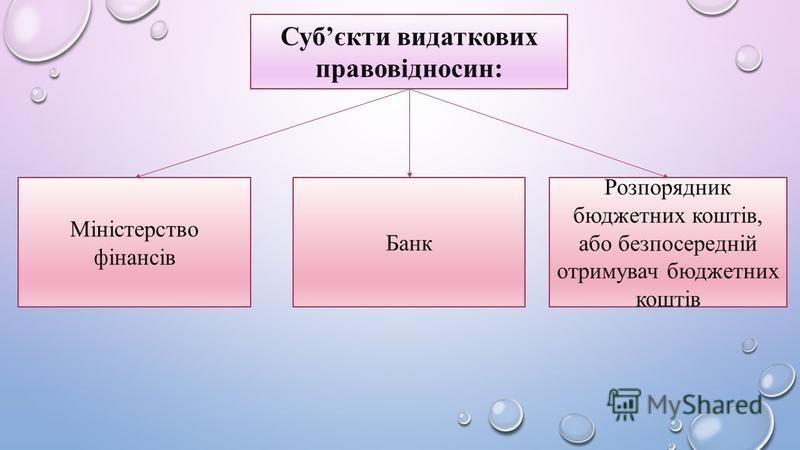Субєкти видаткових правовідносин: Міністерство фінансів Банк Розпорядник бюджетних коштів, або безпосередній отримувач бюджетних коштів