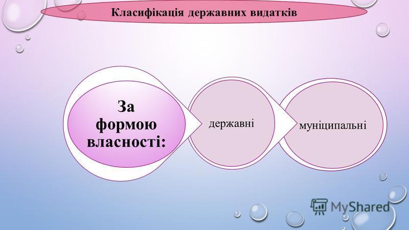 Класифікація державних видатків муніципальнідержавні За формою власності: