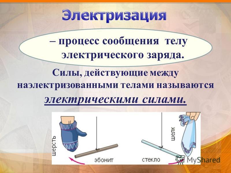 – процесс сообщения телу электрического заряда. Силы, действующие между наэлектризованными телами называются электрическими силами.