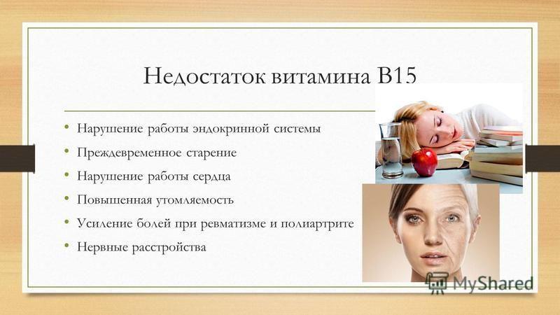 Недостаток витамина В15 Нарушение работы эндокринной системы Преждевременное старение Нарушение работы сердца Повышенная утомляемость Усиление болей при ревматизме и полиартрите Нервные расстройства