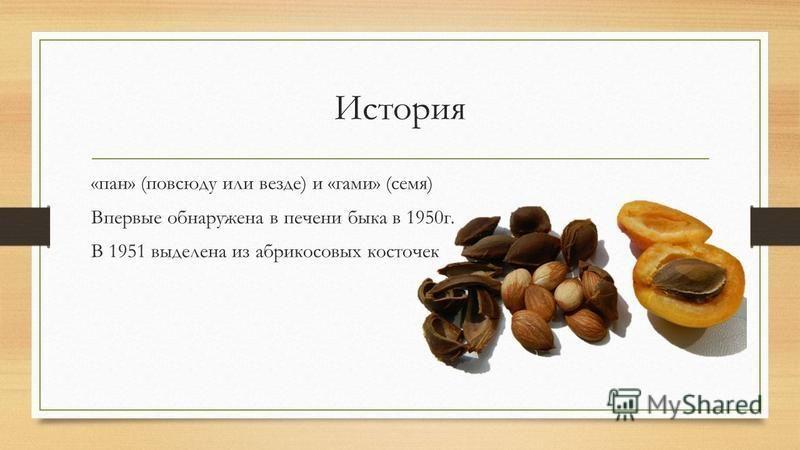 История «пан» (повсюду или везде) и «маги» (семя) Впервые обнаружена в печени быка в 1950 г. В 1951 выделена из абрикосовых косточек