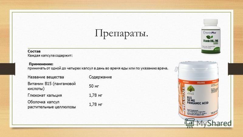 Препараты. Название вещества Содержание Витамин B15 (пангамовой кислоты) 50 мг Глюконат кальция 1,78 мг Оболочка капсул растительные целлюлозы 1,78 мг Состав Каждая капсула содержит: Применение: принимать от одной до четырех капсул в день во время ед