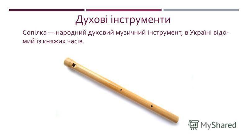 Сопілка народний духовий музичний інструмент, в Україні відо  мий із княжих часів. Духові інструменти
