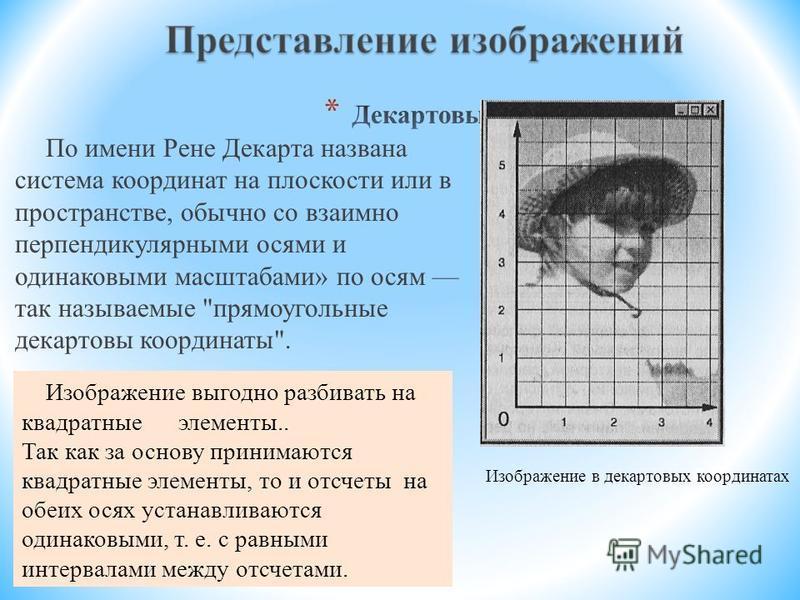 По имени Рене Декарта названа система координат на плоскости или в пространстве, обычно со взаимно перпендикулярными осями и одинаковыми масштабами» по осям так называемые
