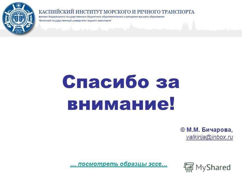 Спасибо за внимание! © М.М. Бичарова, valkirija@inbox.ru … посмотреть образцы эссе…