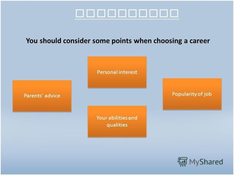 Conclusion You should consider some points when choosing a career Parents advice Personal interest Popularity of job Your abilities and qualities