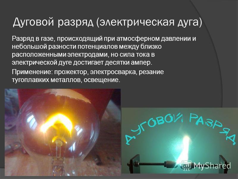 Дуговой разряд (электрическая дуга) Разряд в газе, происходящий при атмосферном давлении и небольшой разности потенциалов между близко расположенными электродами, но сила тока в электрической дуге достигает десятки ампер. Применение: прожектор, элект