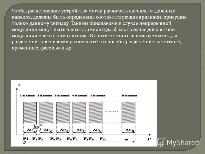 Чтобы разделяющие устройства могли различать сигналы отдельных каналов, должны быть определены соответствующие признаки, присущие только данному сигналу. Такими признаками в случае непрерывной модуляции могут быть частота, амплитуда, фаза, в случае д