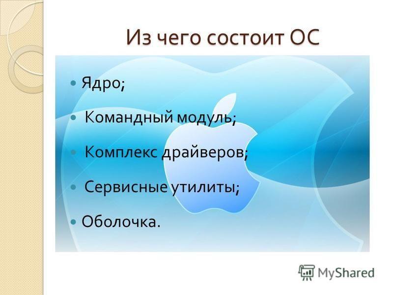 Из чего состоит ОС Ядро ; Командный модуль ; Комплекс драйверов ; Сервисные утилиты ; Оболочка.