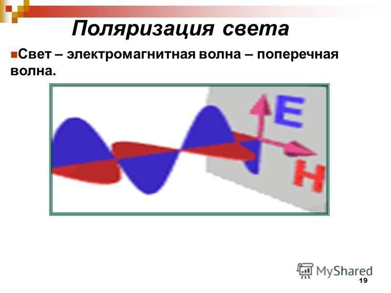 Поляризация света Свет – электромагнитная волна – поперечная волна. 19
