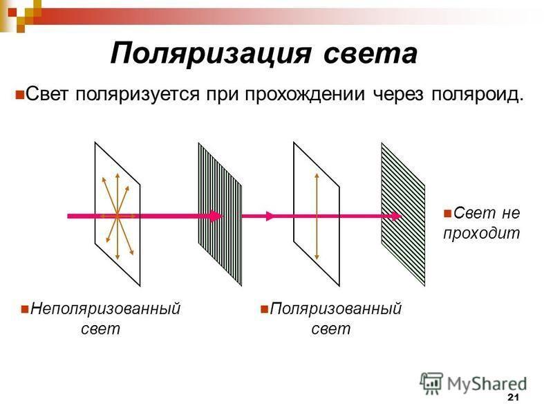 Поляризация света Свет поляризуется при прохождении через поляроид. Неполяризованный свет Поляризованный свет Свет не проходит 21